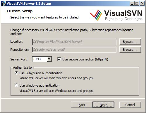 VisualSVN server instalace